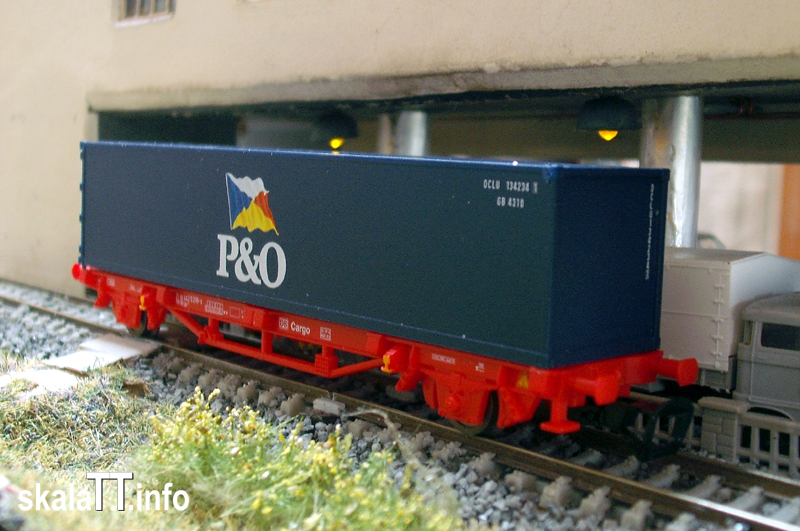 PIKO. Platforma DB Cargo Lgs597 - 21 80442 5216-9 rev. 14.07.99 – 1 kontener P&O (1A)  40' nr. kat. 47700 – Ep. V