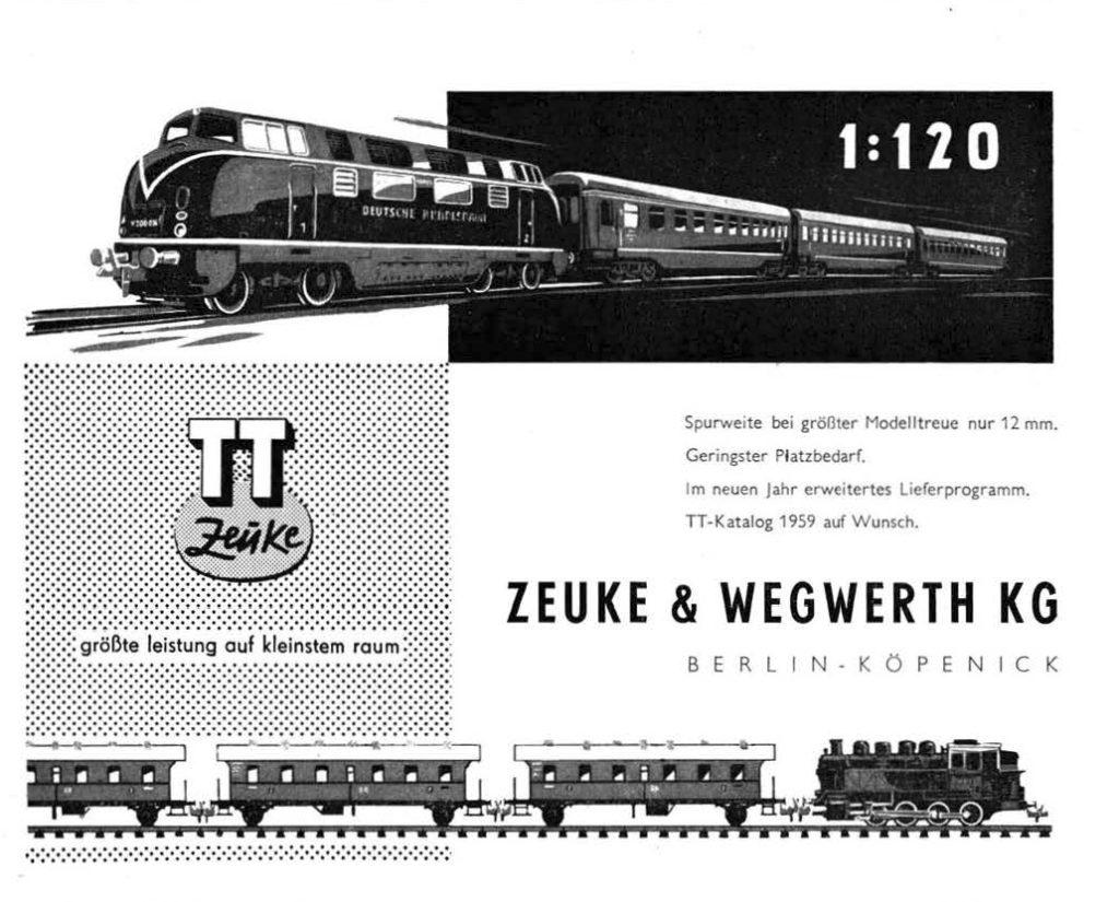 Fragment reklamy firmy Zeuke w ModelEisenbahner 12/1957. Źródło: https://archive.org/details/ModellEisenbahner/mode/2up