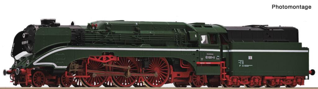 Model parowozu 02 0201-0 DR, epoka IV stan z lat 80. XX wieku. Nr.kat. 36035, z dekoderem dźwięku nr.kat. 36036.