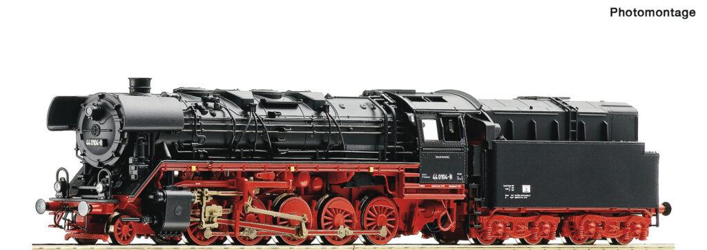 Model parowozu 44 0104-8 DR, epoka IV przystosowanego do opalania pyłem węglowym. Nr.kat. 36086, z dekoderem dźwięku nr.kat. 36087.