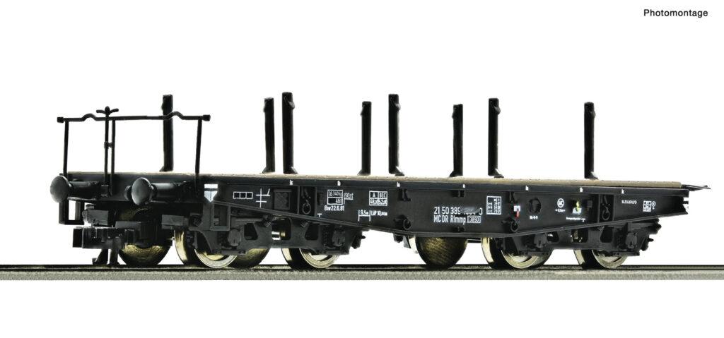 Model wagonu platformy konstrukcji wojennej typu SSys o ładowności do 50 ton. Seria Rlmmp DR, epoka IV. Numer katalogowy 37594
