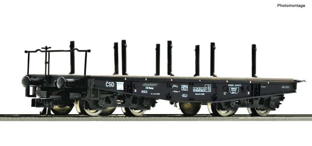 Model wagonu platformy konstrukcji wojennej typu SSys o ładowności do 50 ton. Seria Rlmmp ČSD, epoka IV. Numer katalogowy 37595