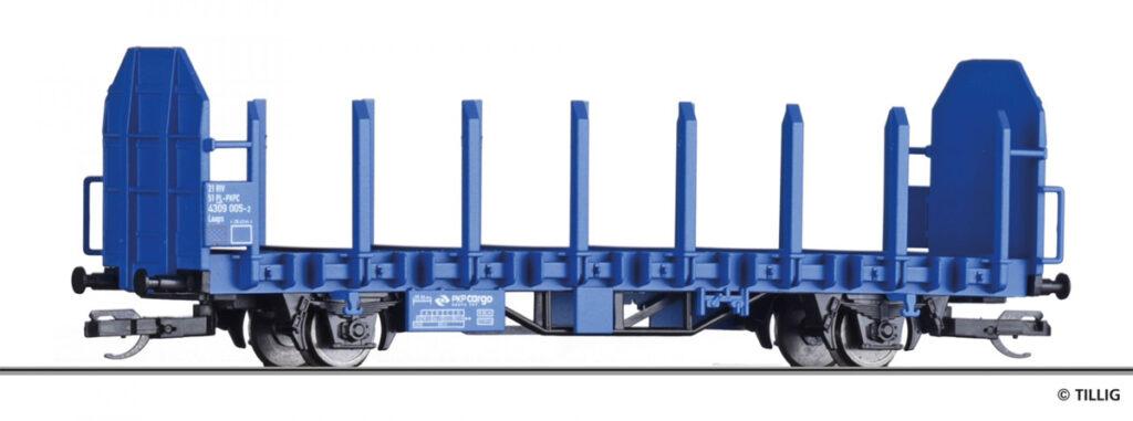Tillig. Nr.kat.14601. Epoka VI. Model wagonu platformy do transportu drewna Laaps 565 w malowaniu PKP Cargo.