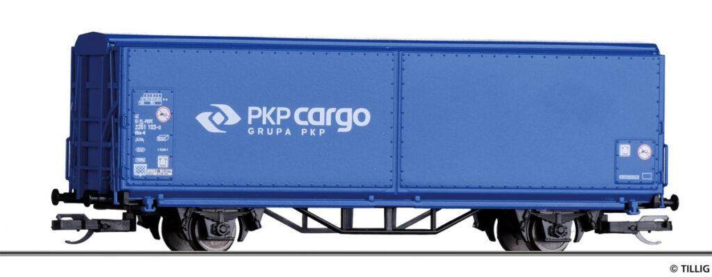 Tillig. Nr.kat.14844. Epoka VI. Model wagonu krytego do transportu części samochodowych Hbis-tt 293 w malowaniu PKP Cargo.
