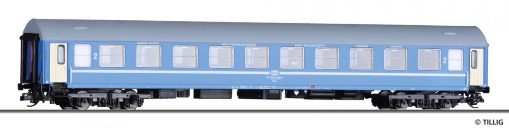 Tillig. Nr.kat.16404. Epoka V. Model wagonu z miejscami do leżenia (kuszetki) Bcdz Y/B 70, 2. Klasa, PKP.