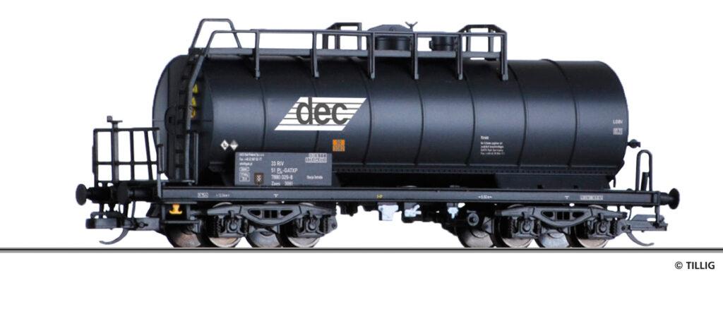 Tillig. Nr.kat. 17435. Epoka V. Model wagonu cysterny serii Zaes DEC/GATX na bazie modelu cysterny ZZh DR.