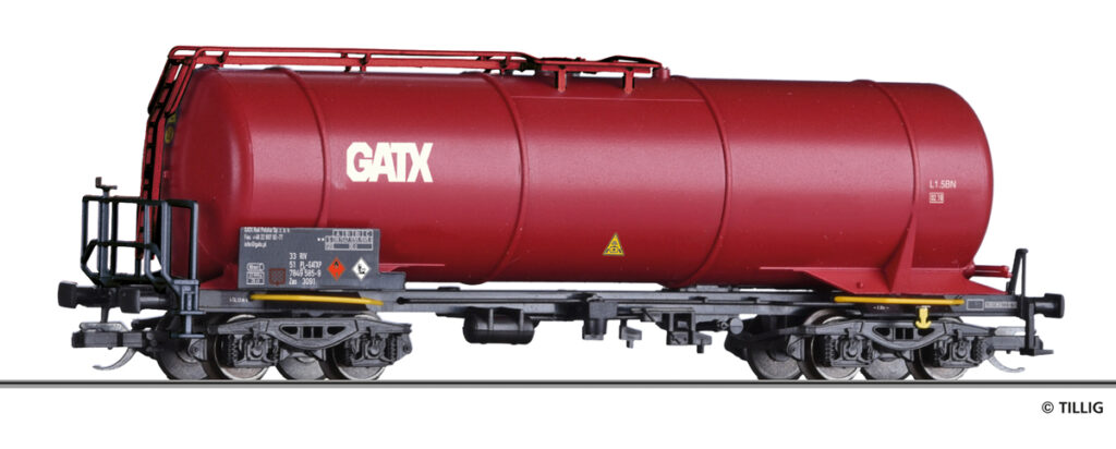 Tillig. Nr.kat. 18504. Epoka V. Model wagonu cysterny serii Zaes DEC/GATX na bazie modelu cysterny Zas-w.